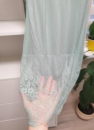 Нежное мятное платье кружево2 фото