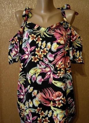 Новая с биркой блузка в цветы бретельки завязки открытые плечи короткий рукав размер 16 nutmeg