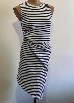 Ассиметричное платье в тельняшку