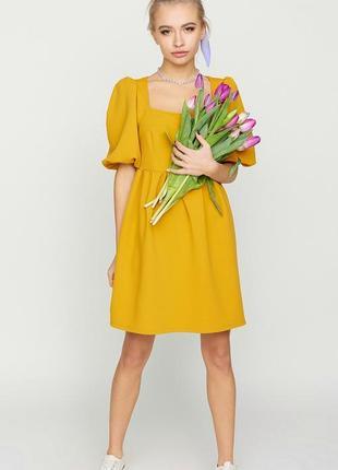Платье с квадратными вырезом и пышными рукавами, размер xs-l