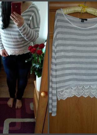 Полосатый свитерок с кружевом