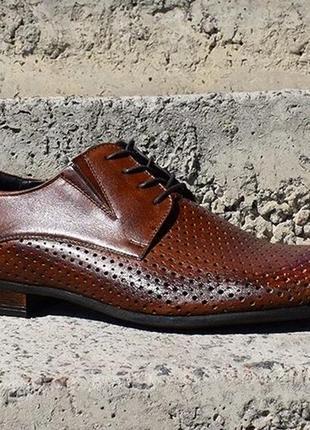 Туфли с перфорацией натуральная кожа польша