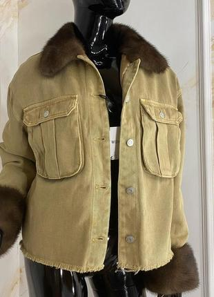 Женская бежевая джинсовка джинсовая куртка с норкой, s-xl