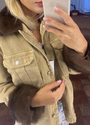 Женская бежевая джинсовка джинсовая куртка с норкой, s-xl3 фото
