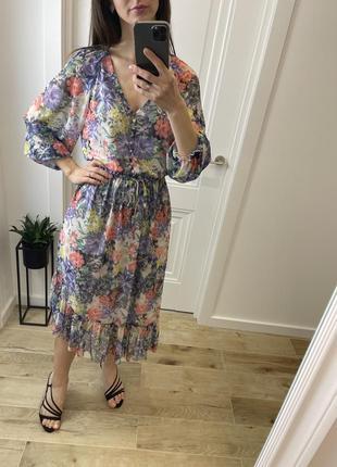 Длинное цветастое платье , платье, шифоновое платье