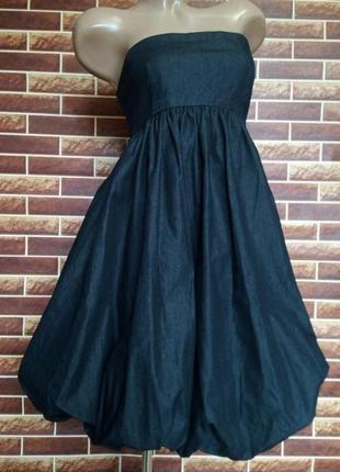 Джинсовое платье, сарафан бандо gina tricot