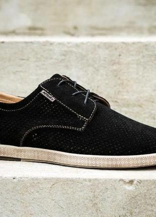 Туфли замша натуральная кожа с перфорацией на шнурках