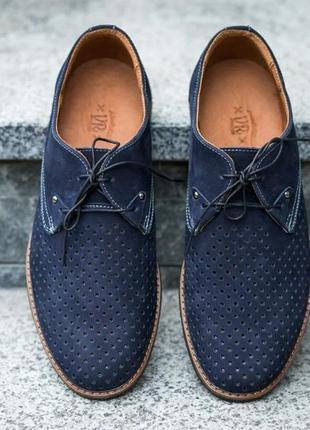 Туфли мокасины на шнурках с перфорацией натуральная кожа1 фото
