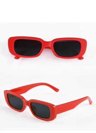 Тренд красные солнцезащитные очки тренд узкие ретро новые окуляри сонцезахисні червоні1 фото