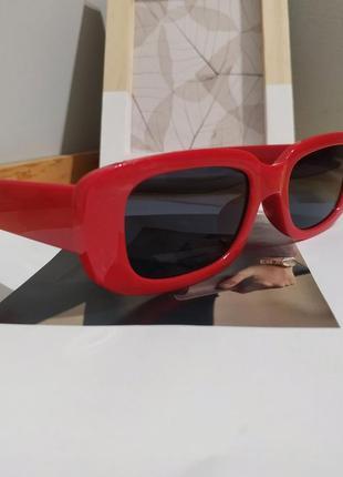 Тренд красные солнцезащитные очки тренд узкие ретро новые окуляри сонцезахисні червоні5 фото