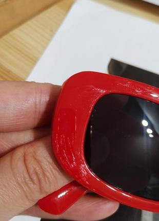 Тренд красные солнцезащитные очки тренд узкие ретро новые окуляри сонцезахисні червоні8 фото