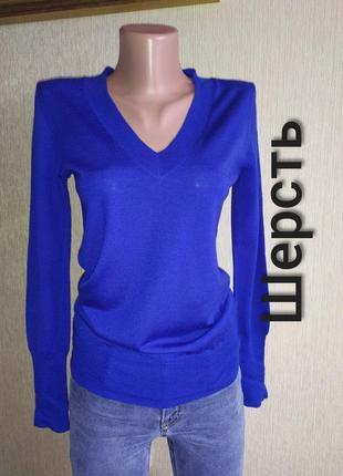 Фирменный свитер, пуловер тонкая мягкая шерсть, р.34