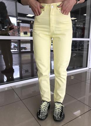 Джинсы катоновые штаны  момс цветные лёгкие  летние желтого цвета