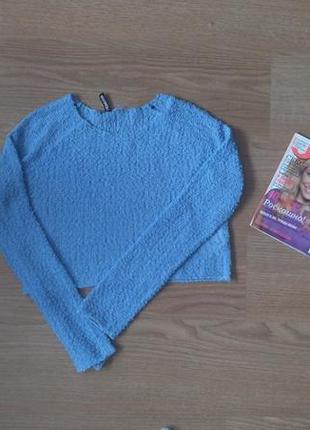 Укороченный свитер кроп топ фактурный р. s m