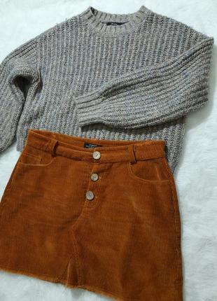 Вельветовая юбка и свитер бершка