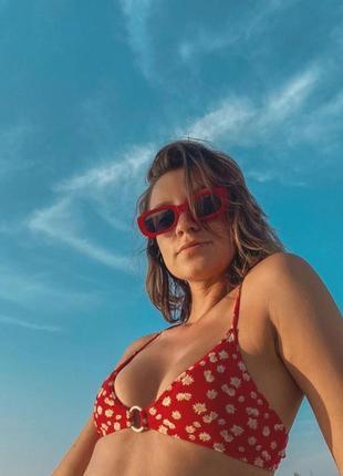 Тренд красные солнцезащитные очки тренд узкие ретро новые окуляри сонцезахисні червоні2 фото