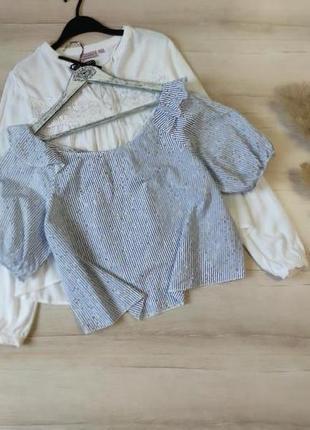 Блуза полосатая с выбитыми цветами zara p l