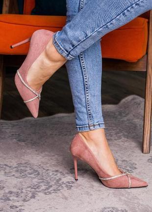 Нарядные стильные женские туфли на шпильке, пыльный розовый