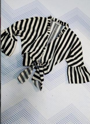 Стильная ,полосатая, укороченная рубашка
