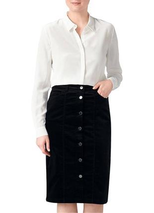 Джинсовая юбка высокая посадка на талии на пуговицах pure