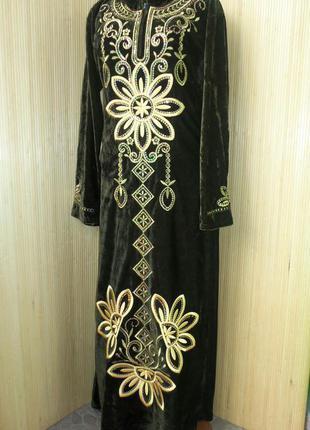 Велюровое винтажное  длинное нарядное платье с пайетками и вышивкой xxl/xxxl в этно стиле