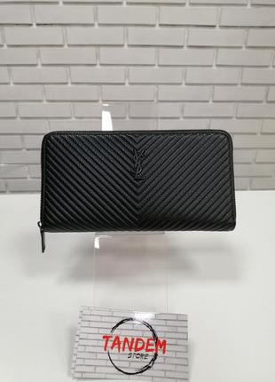 Женский кожаный кошелёк на молнии черный