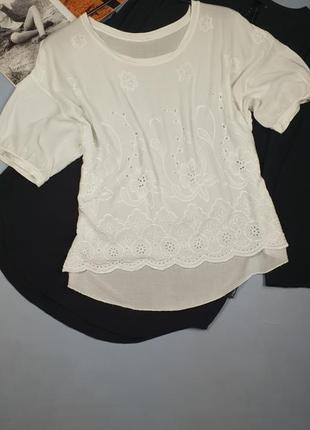Белая блуза с вышивкой италия р.m/l