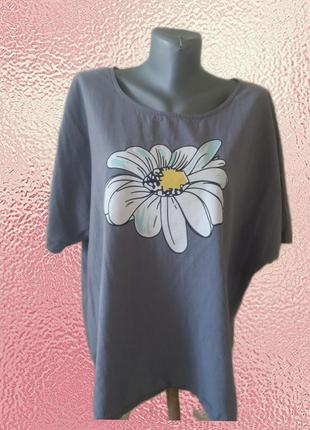 Натуральная( хлопок и лен) блузка оверсайз р.16