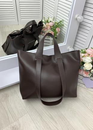 Женская сумка коричневая шопер плечевая ручка,эко.кожа