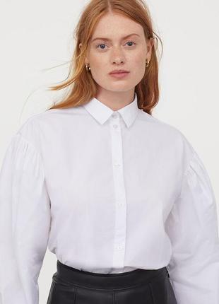 Белая натуральная легкая блуза рубашка с объемными рукавами 100% cotton коллекция 2021 н&m