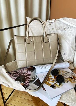 Большая деловая женская стеганая бежевая кожаная сумка, италия