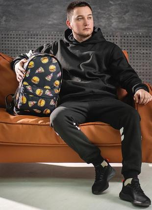 Стильний рюкзак з принтом бургер