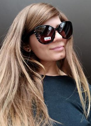 Новые модные очки бабочки со стразами по бокам (линза с поляризацией) коричневые