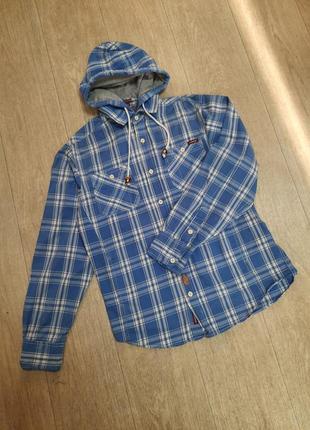 Рубашка коттоновая в клетку с капюшоном
