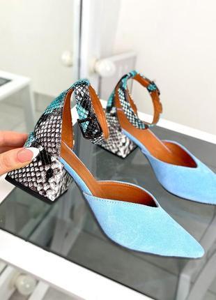 Туфли женские голубые замшевые замша кожаные кожа рептилия