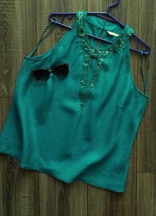 Marks & spencer шикарный льняной топ/блузка изумрудного цвета