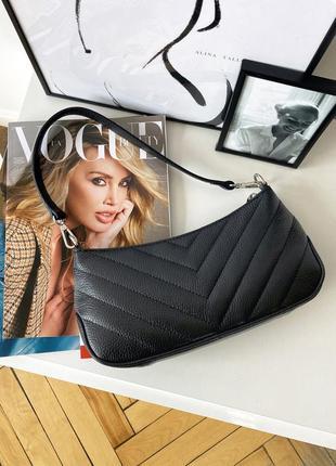 Женская стильная стеганая черна кожаная сумка багет, италия1 фото