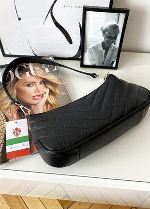Женская стильная стеганая черна кожаная сумка багет, италия3 фото