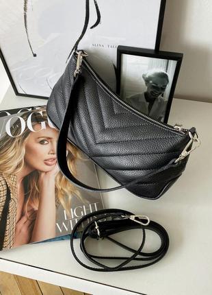 Женская стильная стеганая черна кожаная сумка багет, италия2 фото