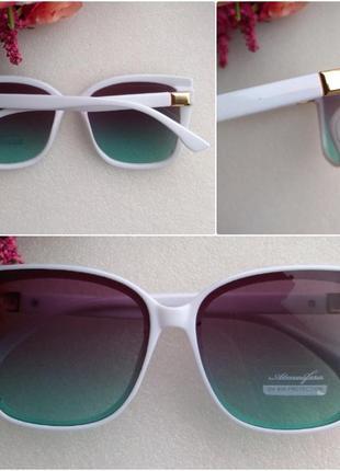 Новые стильные солнцезащитные очки с блеском по бокам, белая оправа