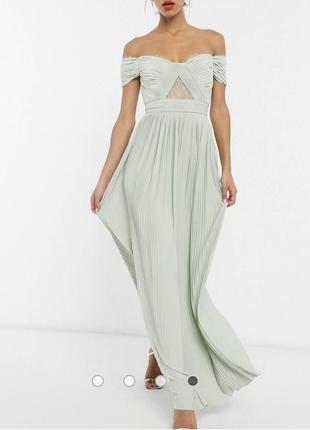 Роскошное вечернее макси платье - плиссе , новое , xs