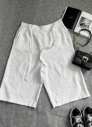 Фирменные удлиненные шорты из льна