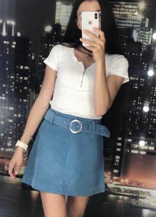 Голубая вельветовая юбка zara 💐