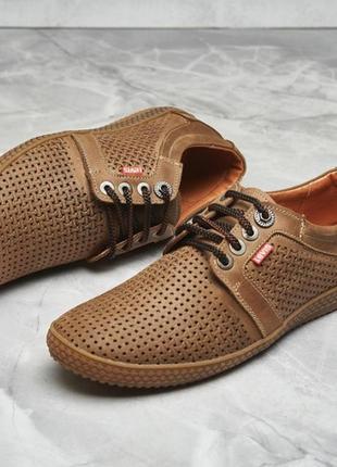 Туфли мокасины натуральная кожа  с перфорацией на шнурках1 фото
