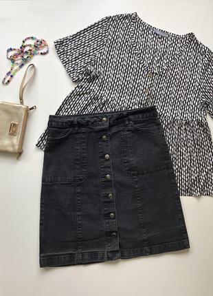 Стрейтчевая джинсовая миди юбка на пуговицах george