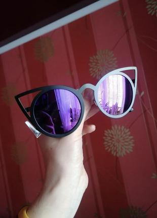 Стильные очки метал кошка фиолетовое стекло3 фото
