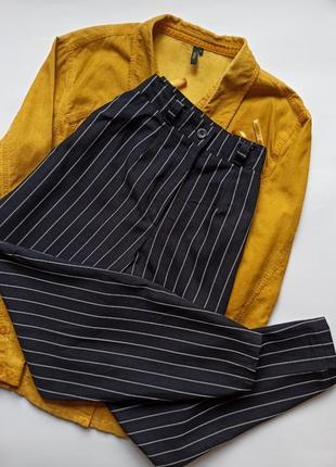 Легкі базові брюки в смужку з високою посадкою від м&s ❤⠀