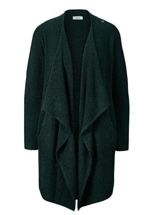 Темно-зеленый удлиненный женский кардиган с шерстью tcm tchibo