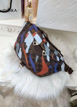 Бананка женская сумка коричневая бренд кожаная кожа синяя красная