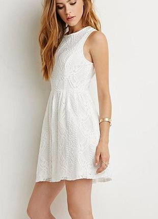 Сливочно-белое кружевное платье сарафан, р-р м